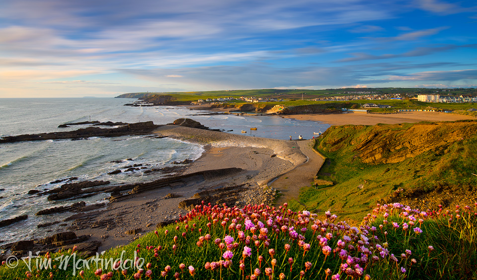 Bude Bay on a May evening for Holiday Cottages Cornwall