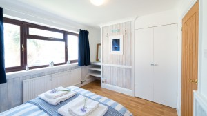 The twin bedroom at The Beach Haven holiday cottage in Bude.