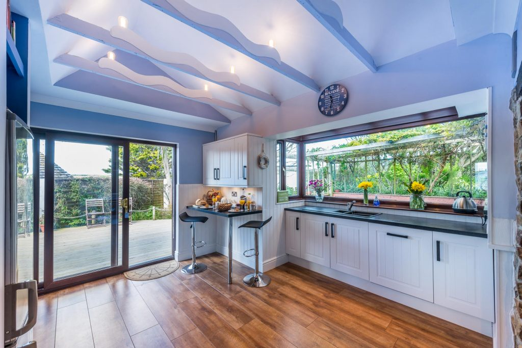 The bright and airy kitchen at the Beach Haven holiday cottage, Bude, Cornwall