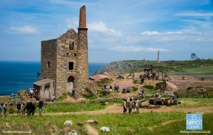A busy scene during filming of the first series in Poldark's Cornwall