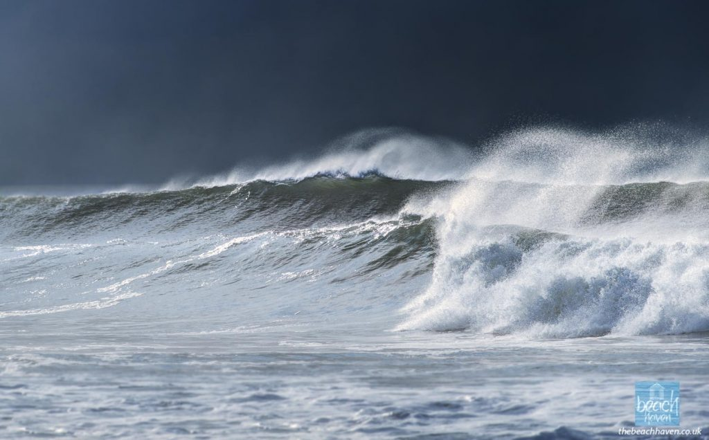 Stormy seas at Crooklets beach