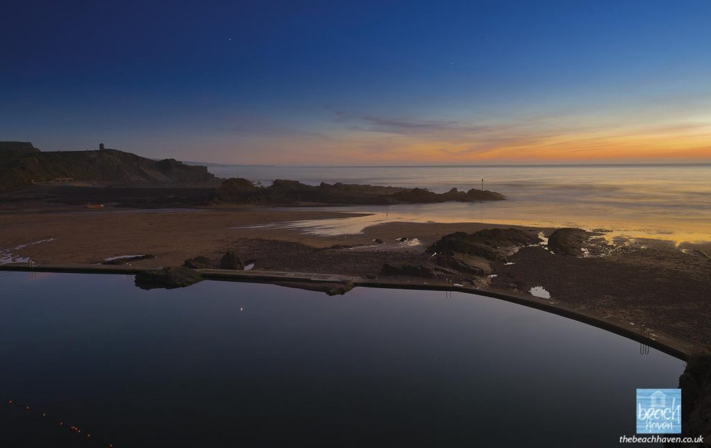 Afterglow over the Sea Pool and Summerleaze beach