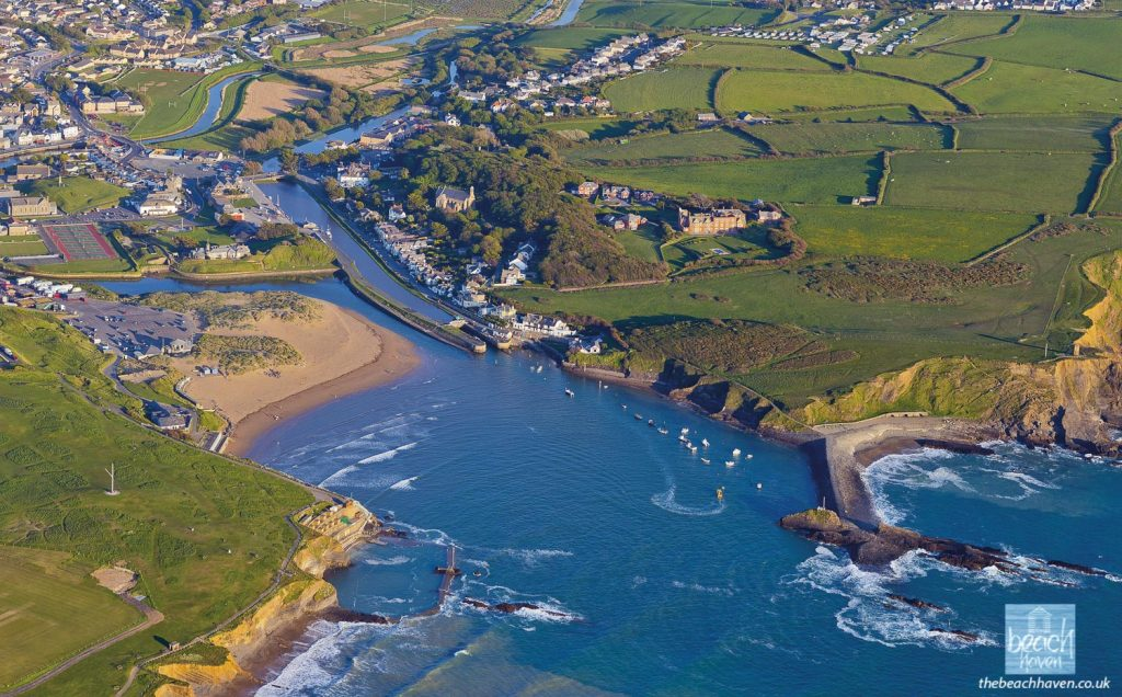 High tide in Bude harbour from the air