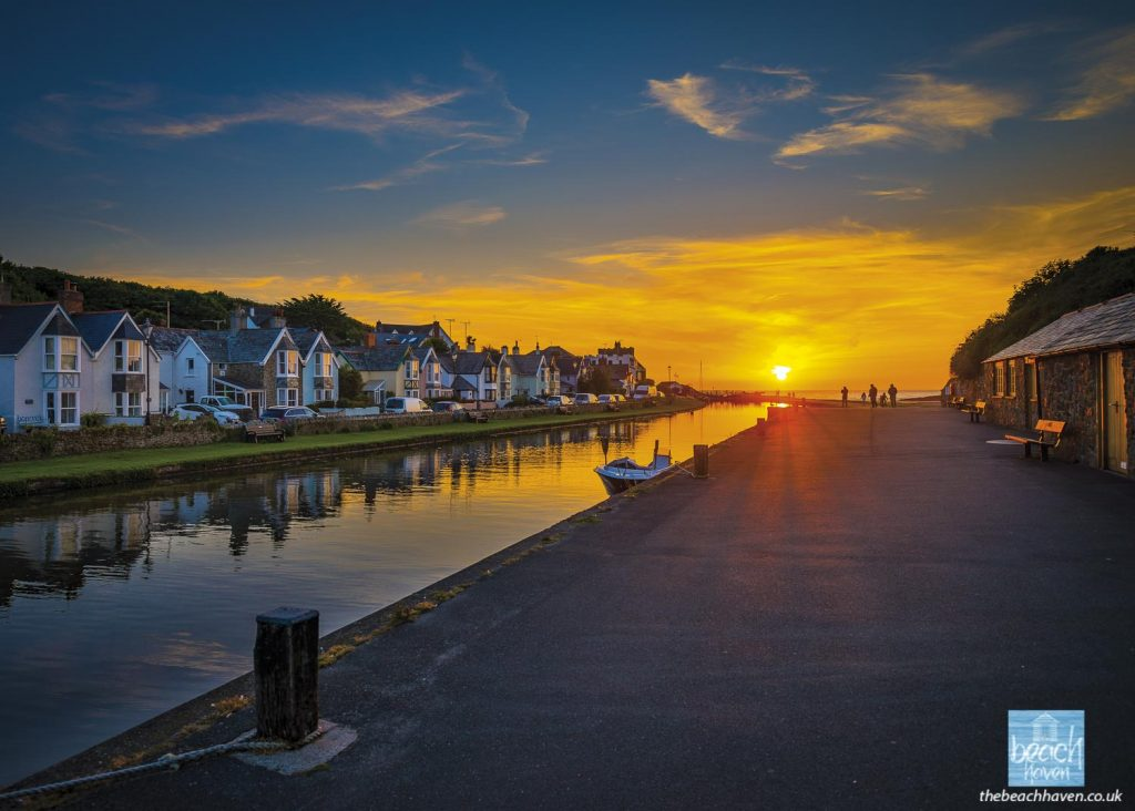 Bude Canal sunset from the wharf