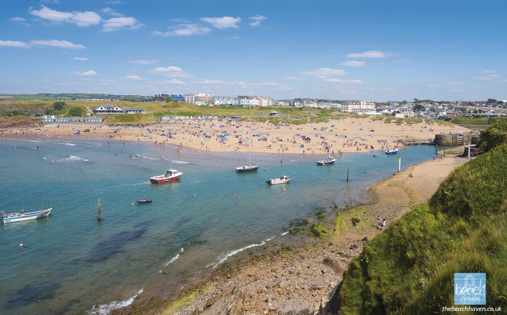 The harbour and Summerleaze beach on a glorious summer day