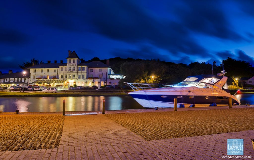The Lower Wharf and The Falcon Hotel at night.