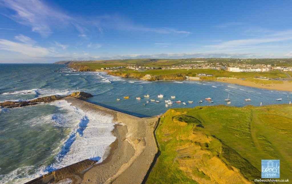 Bude harbour, breakwater and Compass Point