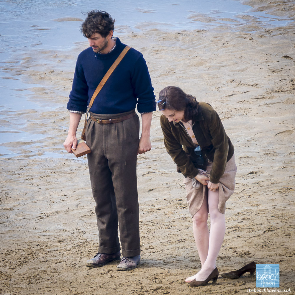 Lily James and Michiel Huisman filming Sandymouth beach during filming the Guernsey Literary Potato Peel Society at Sandymouth near Bude