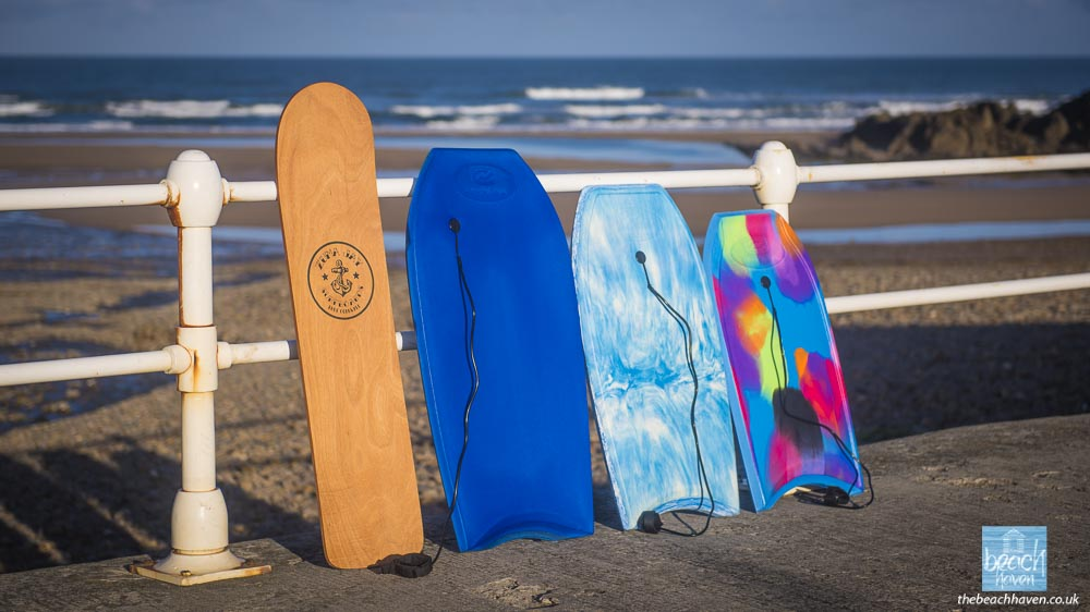 The selection of bodyboards provided at The Beach Haven