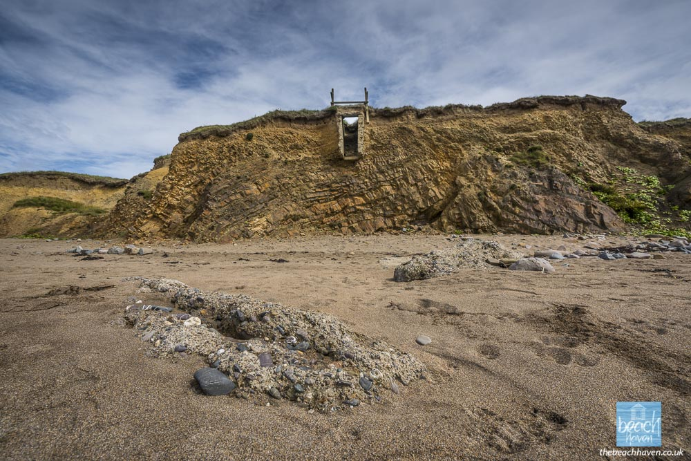 Remains of the Widemouth Bay pillbox at the Black Rock end of the beach