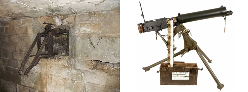 The Turnbull Mount (left) and Vickers .303 machine gun that were probably used inside the Crooklets pillbox.