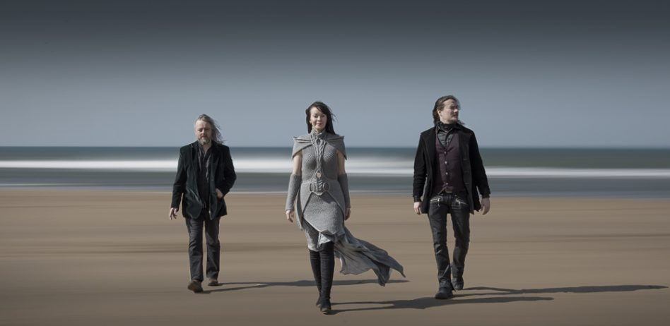 Auri on Sandymouth beach. Troy Donockley, Johanna Kurkela and Tuomas Holopainen.