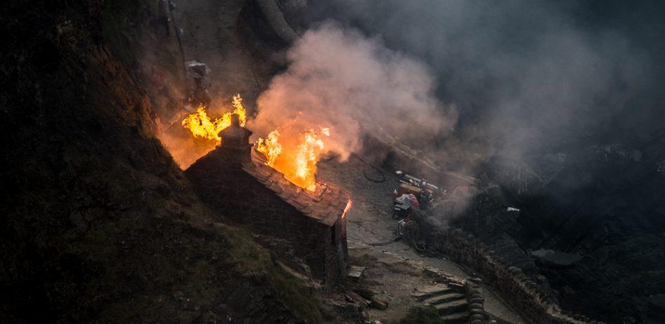 Burning 'Mandalay' for the film 'Rebecca'.