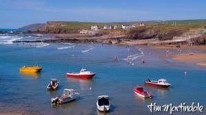 Bude harbour and fishing boats in the summer