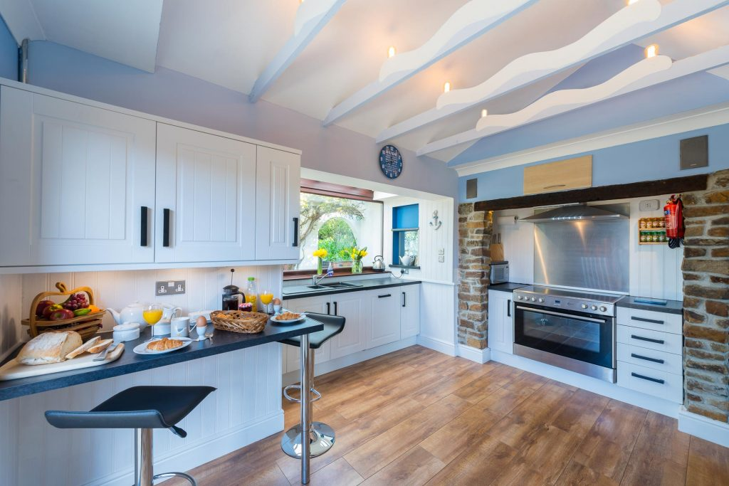 The bright and airy kitchen at the Beach Haven holiday cottage in Cornwall
