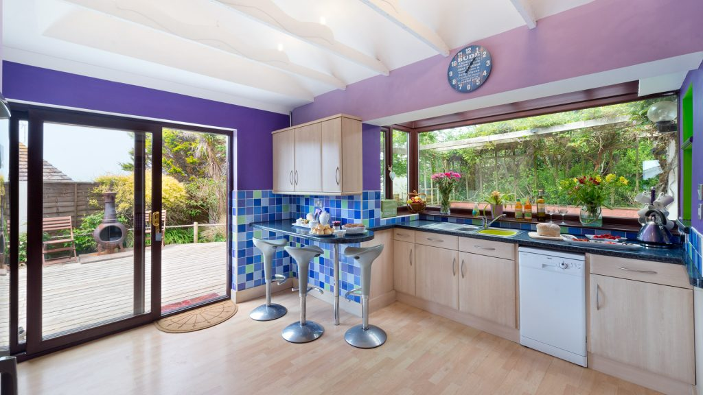 The vibrant kitchen in our Holiday Cottage Cornwall