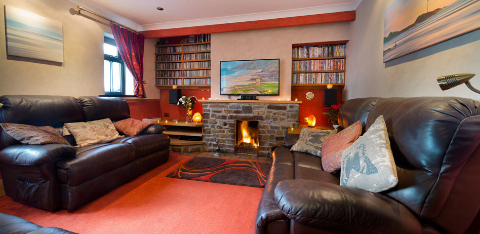 The cosy lounge in The Beach Haven holiday cottage at Bude, Cornwall