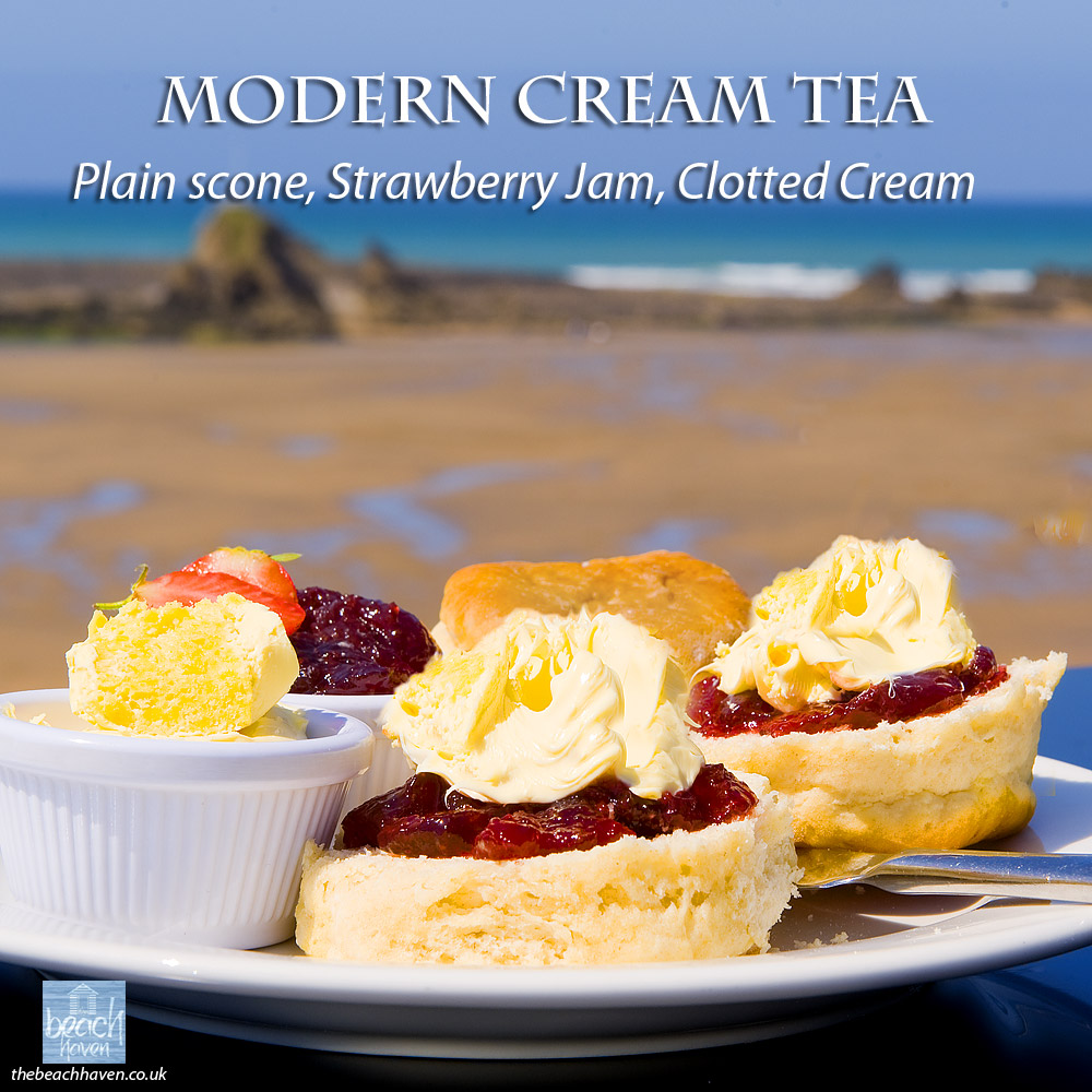 Cornish cream tea with a plain scone
