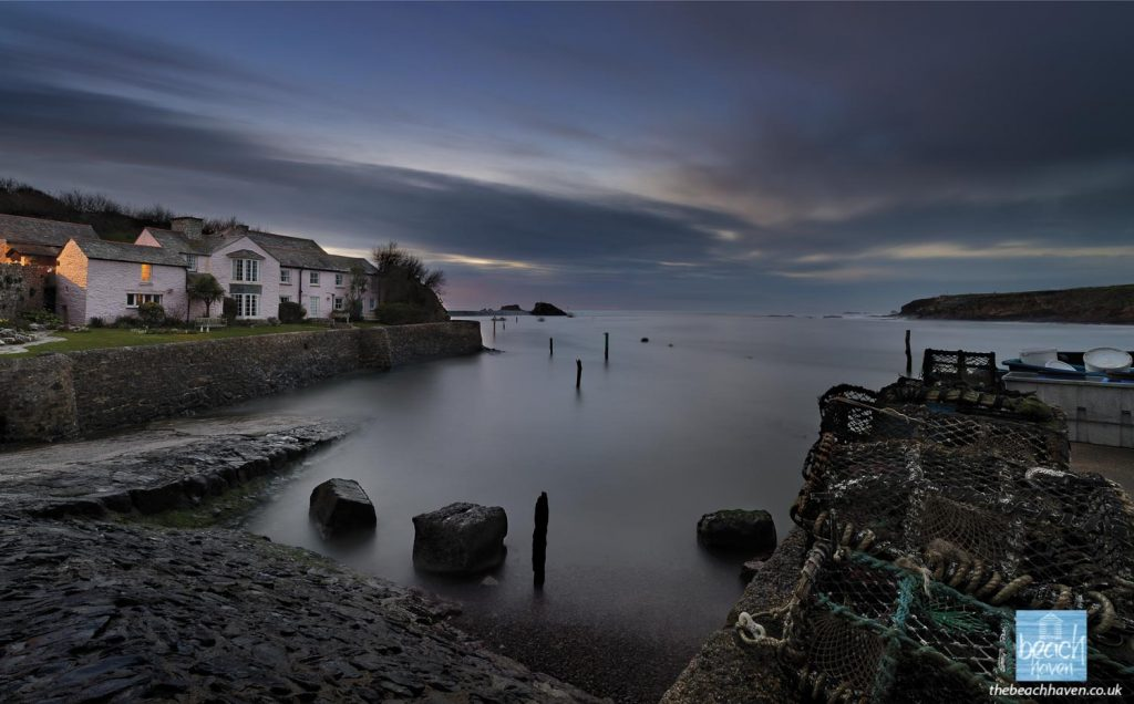 Late evening high tide at Efford Cottage