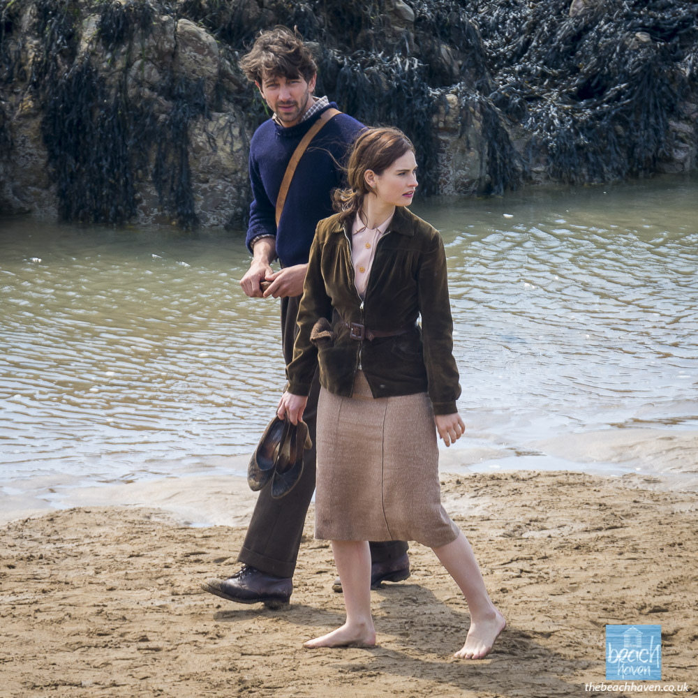 Lily James and Michael Huisman filming Sandymouth beach during filming the Guernsey Literary Potato Peel Society at Sandymouth near Bude