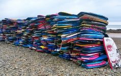 Waveofwaste. 600 polystyrene bodyboards at Crooklets
