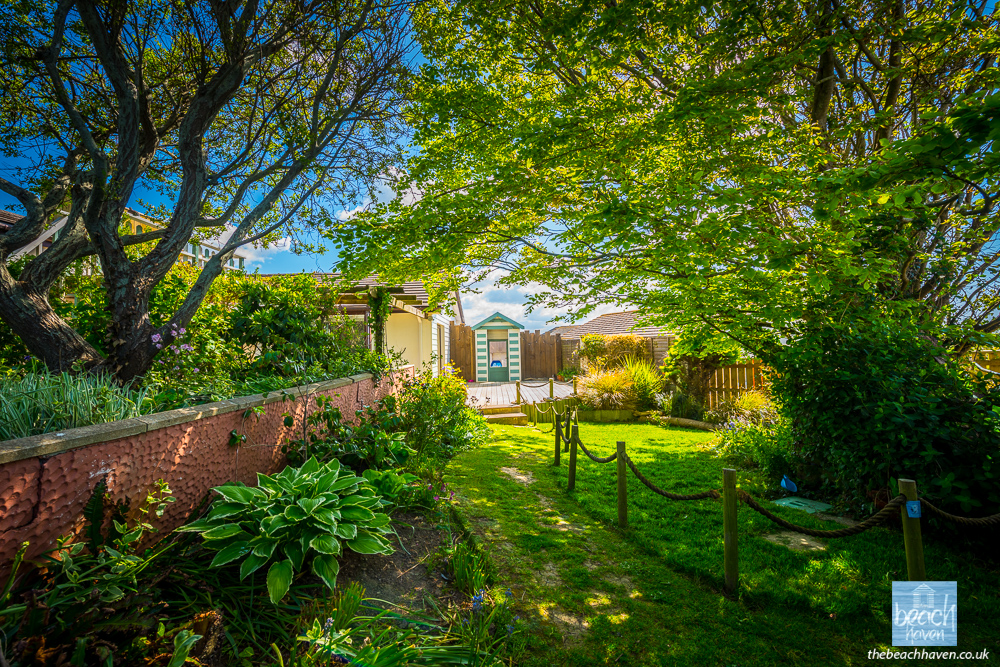 The back garden of the Beach Haven, dog-friendly holiday cottage in Cornwall